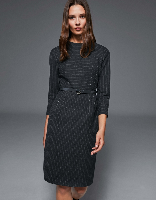 Gray pinstriped midi dress