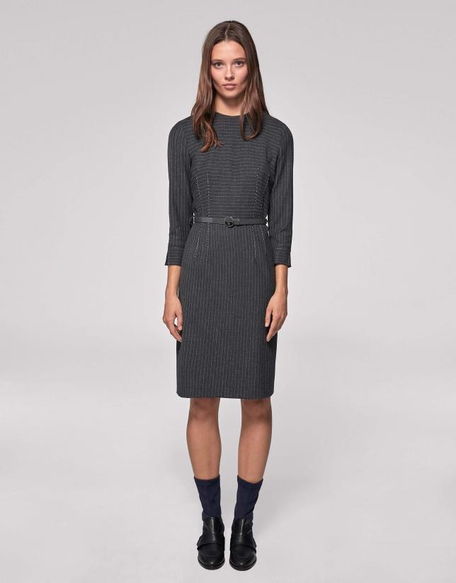 Vestido midi raya diplomática gris