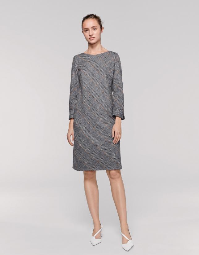 Vestido midi cuadro de gales gris