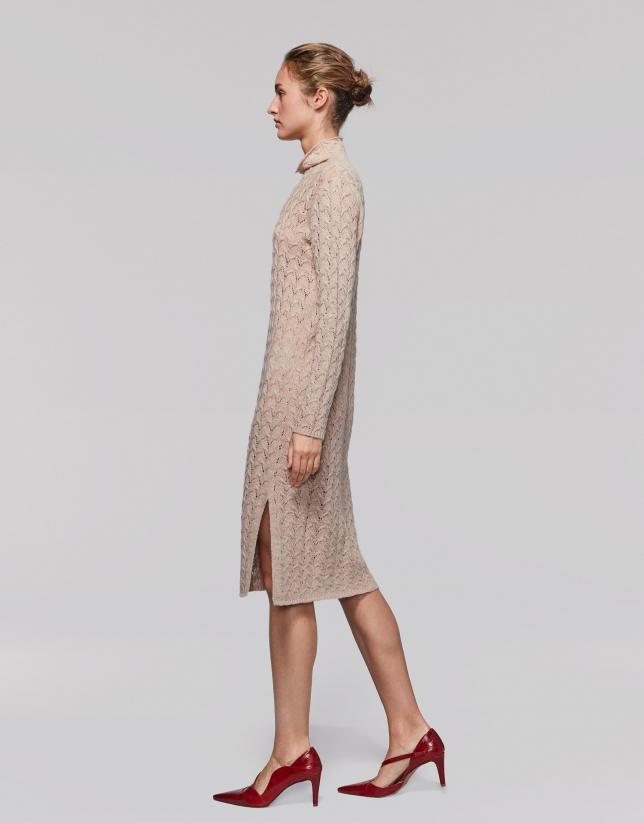 Long vanilla openwork knit dress