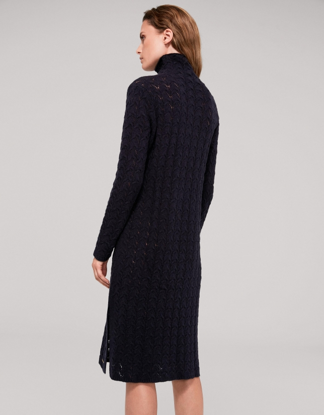 Long navy blue openwork knit dress