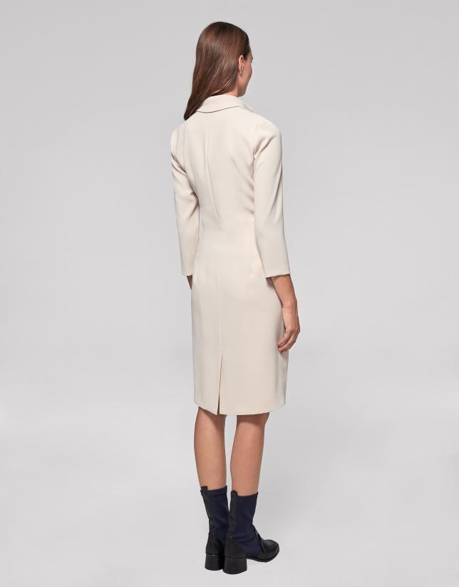 Vanilla shirtwaist dress with bow