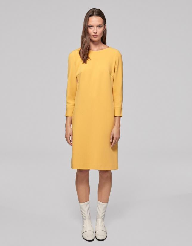 Gold evasé knit dress
