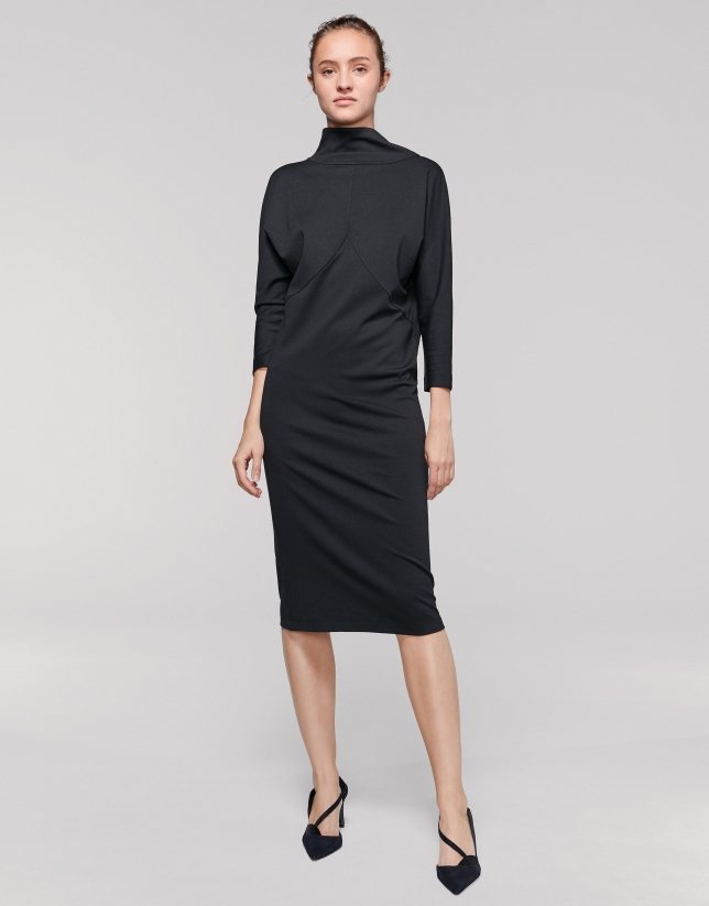 Black midi dress with double collar
