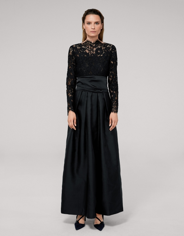 Long black party dress with lace top