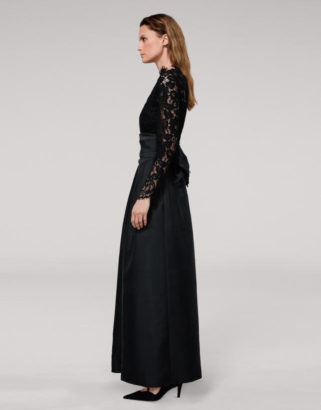 Vestido largo fiesta negro con top de encaje