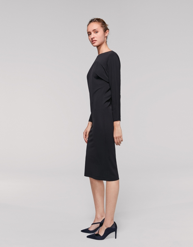 Black dress with yoke sleeves