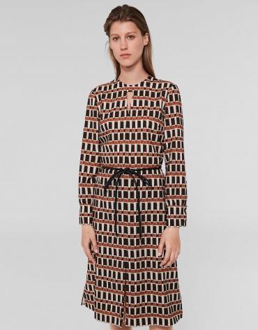 Vestido midi estampado geométrico naranja