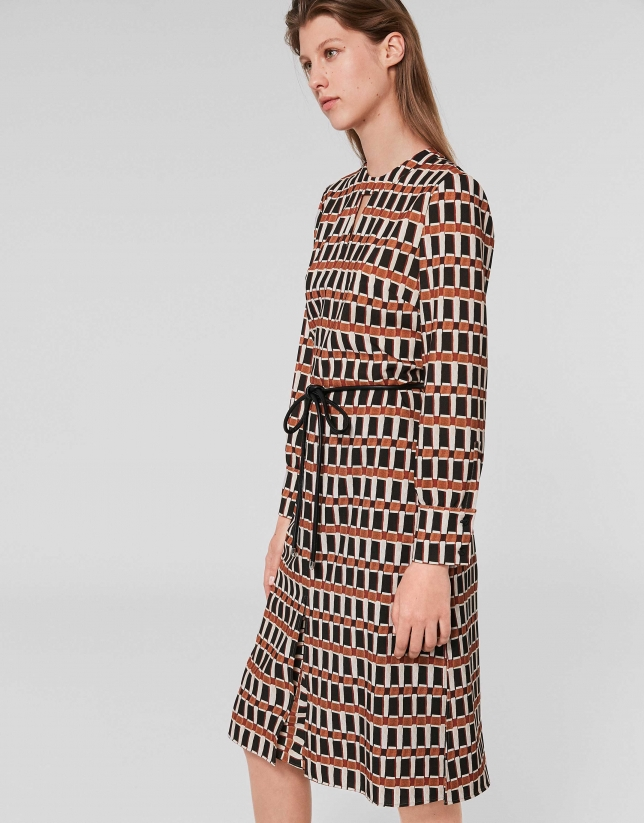 Robe midi à imprimé géométrique orange