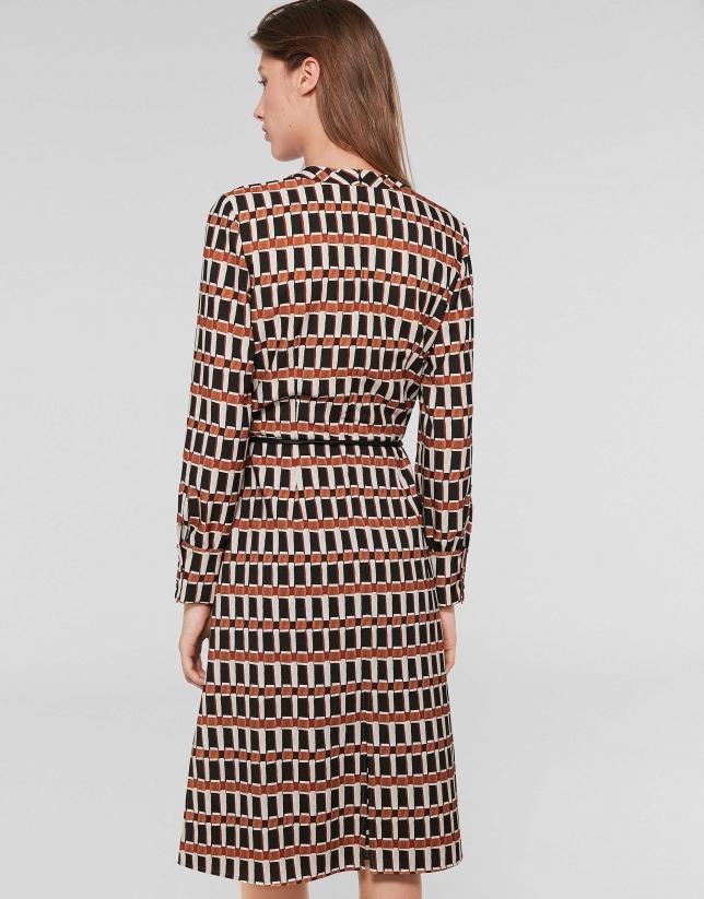 Orange geometric print midi dress