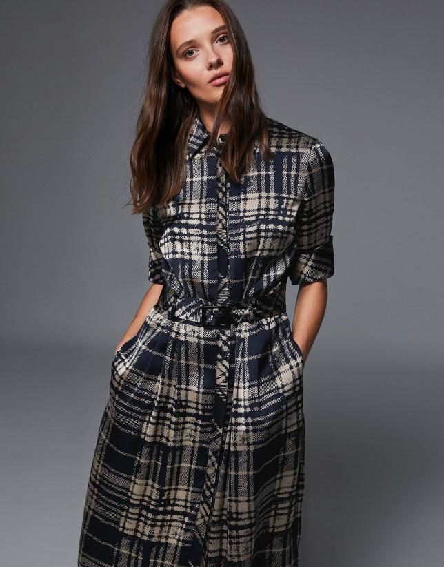 Navy blue and mink checked shirtwaist dress