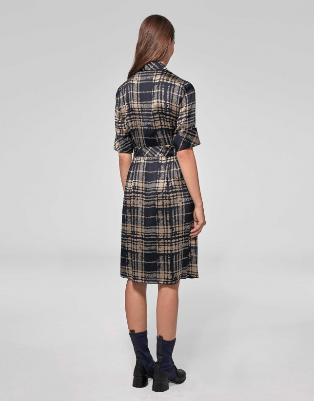 Navy blue and mink checked shirtwaist dress