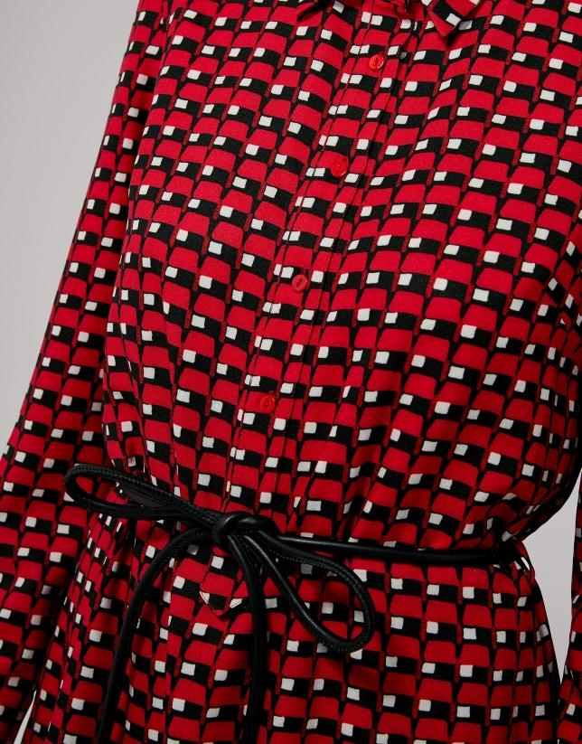 Robe midi à imprimé géométrique couleur rouge