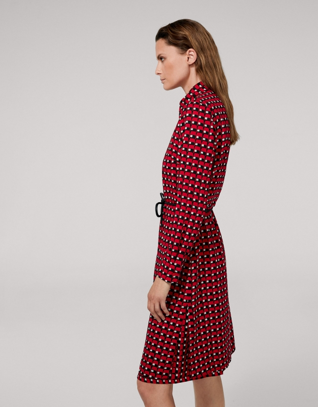 Red geometric print midi dress