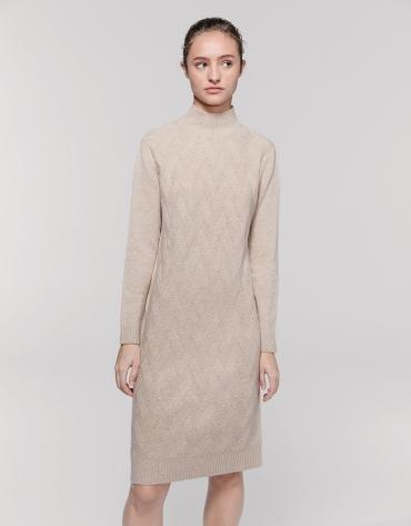 Long vanilla wool/cashemere knit dress