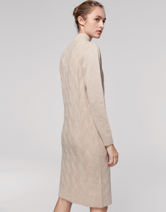 Long vanilla wool/cashemere knit dress