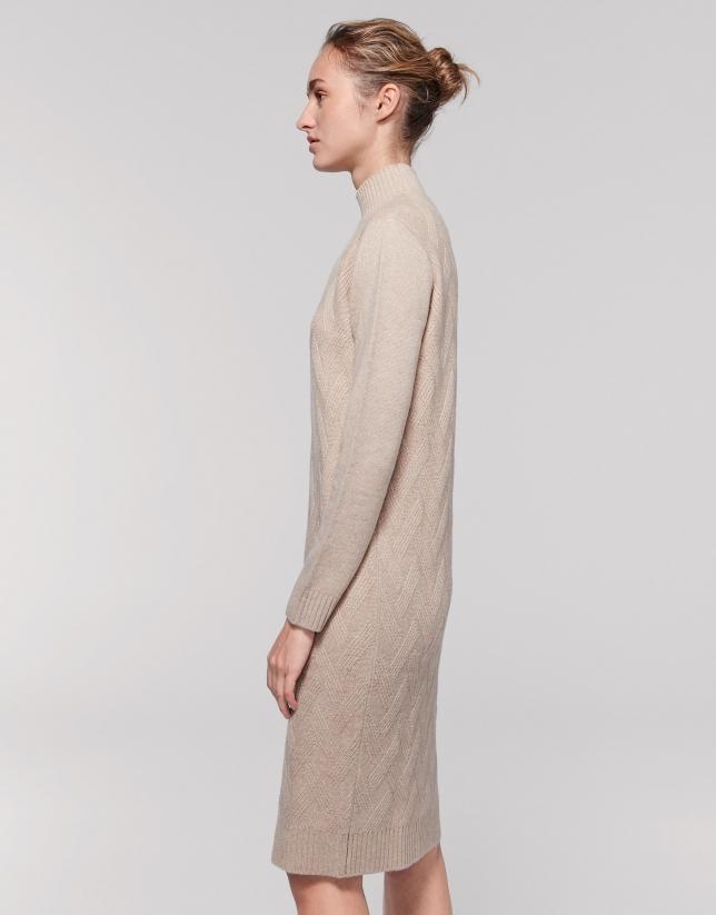 Robe longue en laine/cachemire couleur vanille