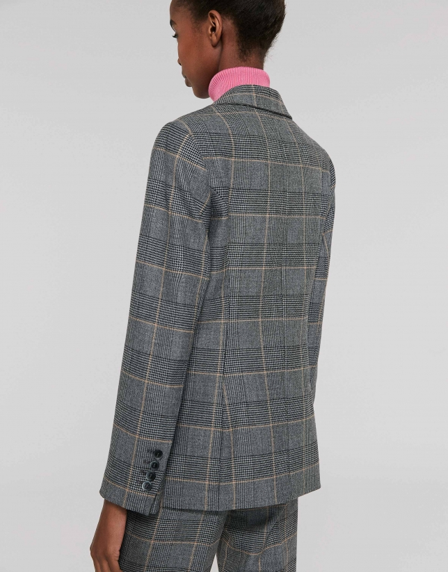 Gray and brown plaid sports jacket