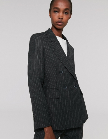 Gray pinstripe sports jacket, with two rows of buttons