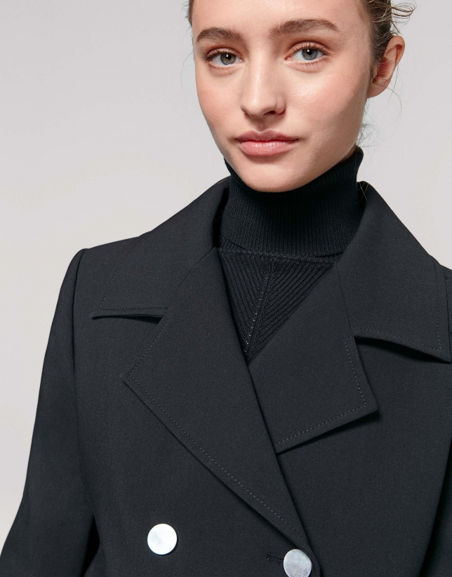 Black, double-breasted, sport jacket