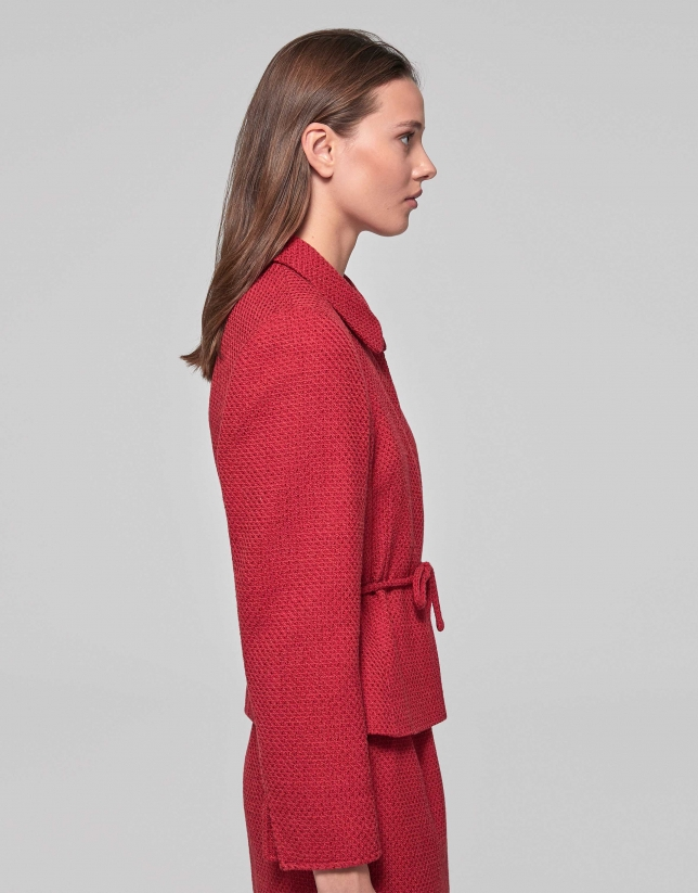 Fitted red jacket with belt