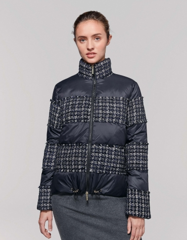 Blue, quilted anorak, with shiny weave