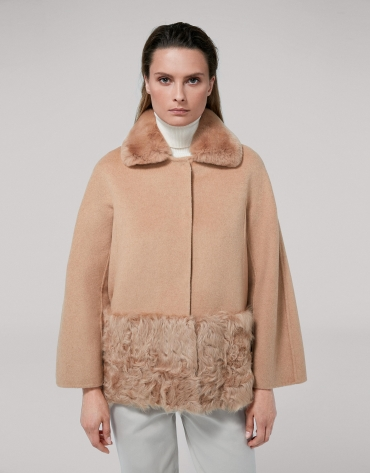 Veste en velours et poils agneau couleur vison