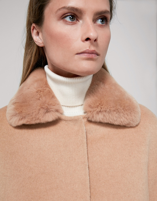 Mink-colored fabric and fur jacket