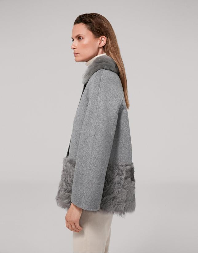 Veste en velours et poils agneau couleur gris