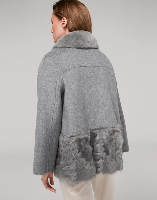 Gray fabric and fur jacket