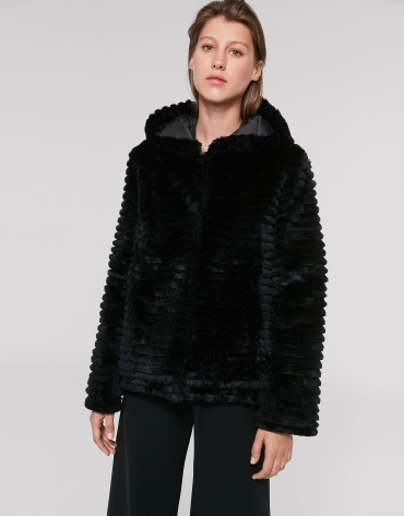 Black reversible quilted and rabbit fur windbreaker