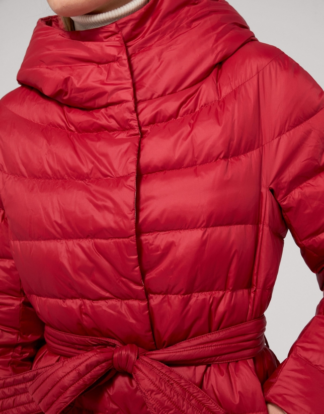 Red poppy quilted parka