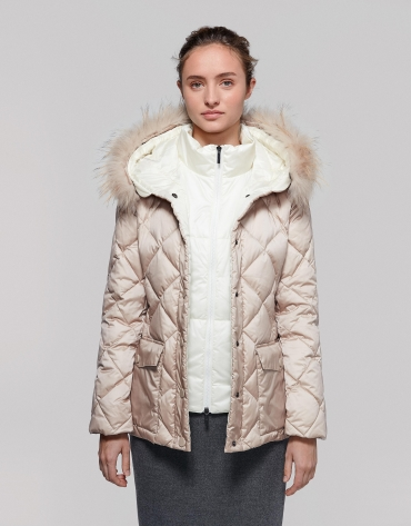 Quilted parka with mink diamond design