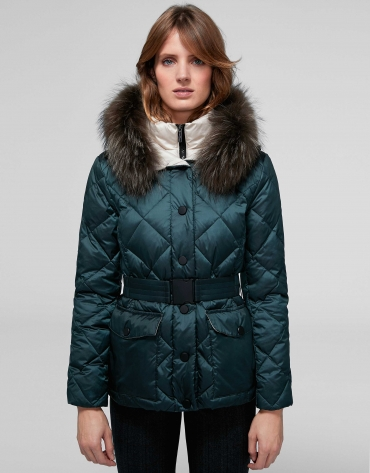 Quilted parka with green diamond design