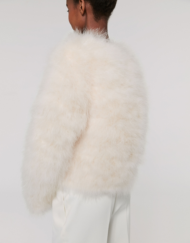 Chaqueta oversize pluma de pavo blanca