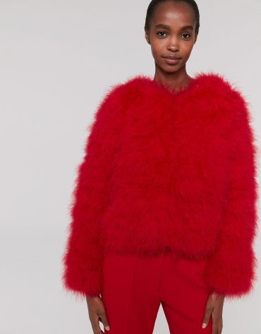 Oversize red poppy jacket with turkey feathers