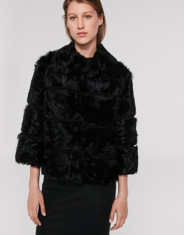 Short black lambskin and fur jacket
