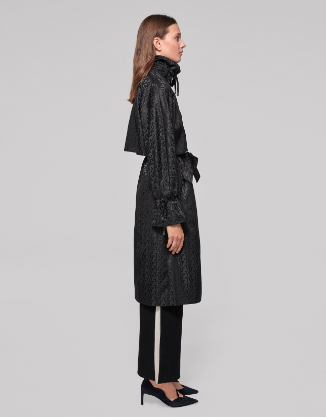 Long black trench coat