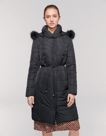Long manteau noir matelassé asymétrique