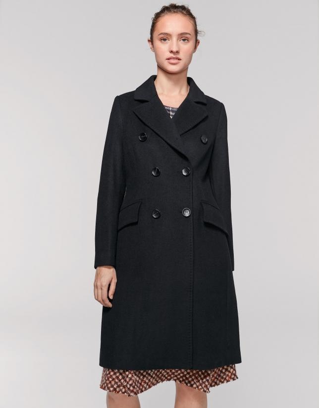 Abrigo doble botonadura negro