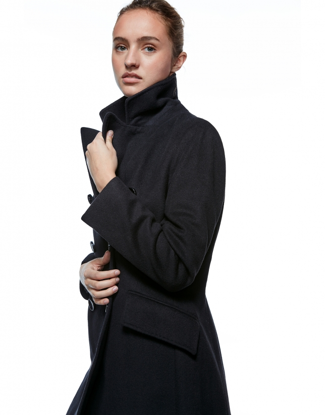 Black, double-breasted coat