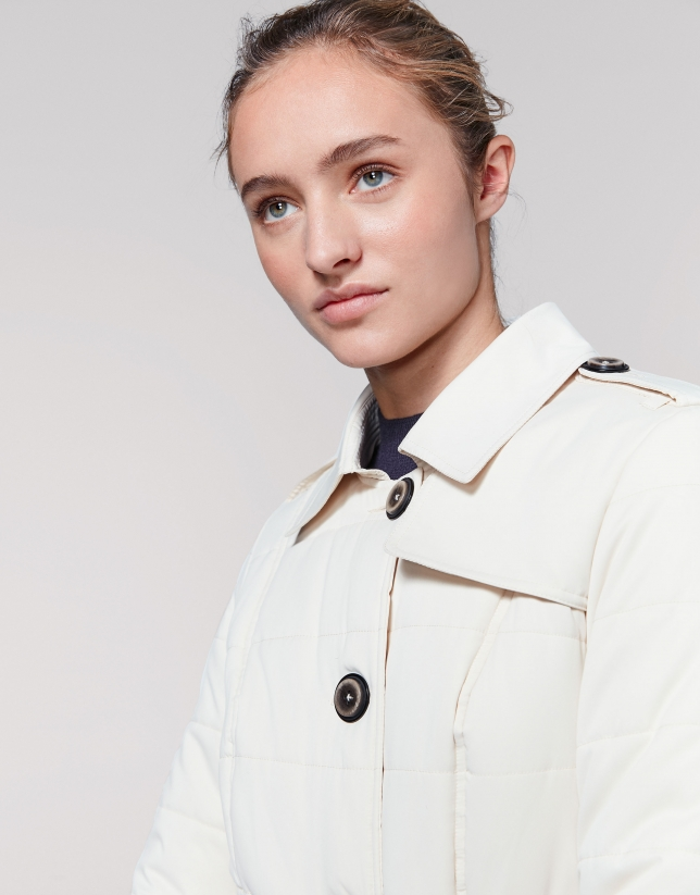 Ivory quilted trench coat
