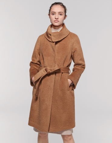Beige coat with wrap-around collar