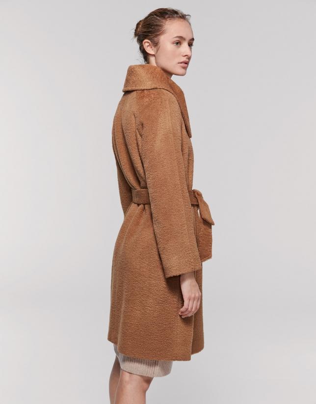 Beige coat with wrap-around collar
