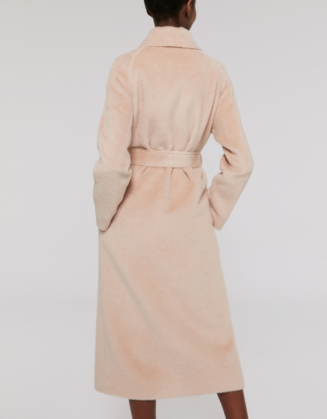Long ivory coat with fur collar