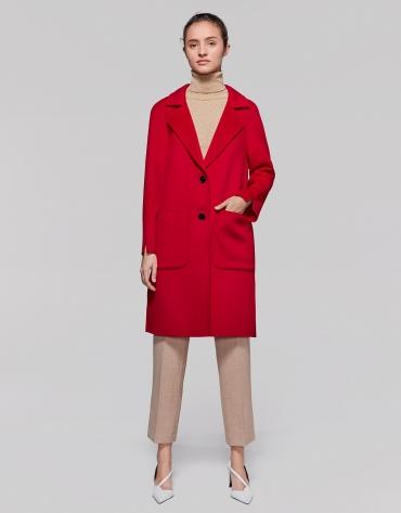 Manteau long laine coquelicot