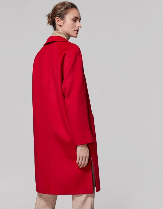 Long red poppy wool coat