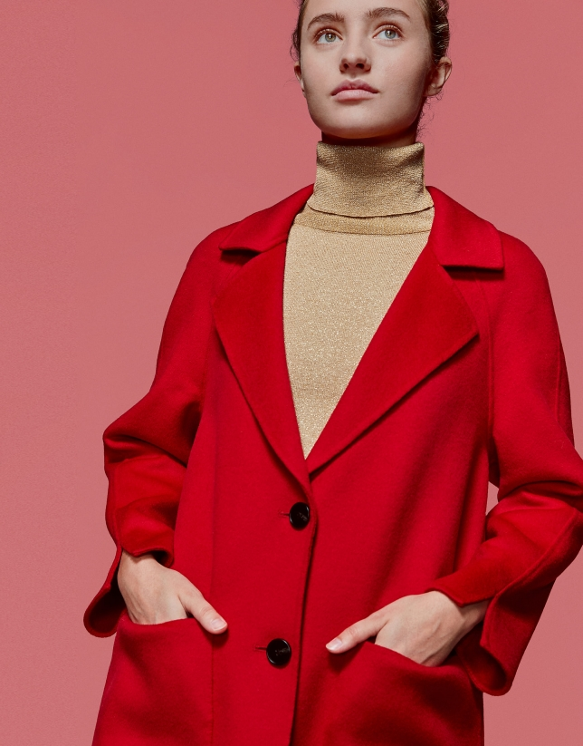 Long red poppy coat