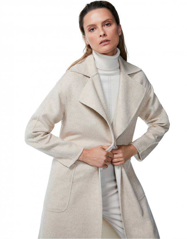 Hazel, double-breasted, two face coat with belt