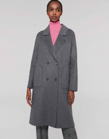 Manteau croisé double face gris